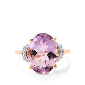 Rose De France Amethyst Ring with Diamond in 9K Rose Gold 5cts