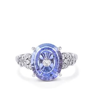 Lehrer TorusRing AA Tanzanite Ring with Diamond in 18k White Gold 4.87cts