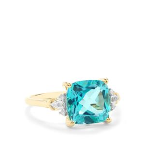 Batalha Topaz Ring with Diamond in 9K Gold 3.86cts
