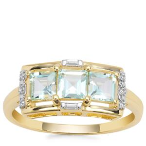 Aquaiba™ Beryl Ring with White Zircon in 9K Gold 0.95cts