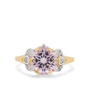Wobito Snowflake Cut Pink Minx Topaz Ring with Diamond in 9K Gold 5.50cts