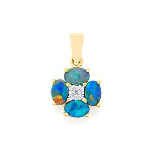 Boulder Opal Pendant with Diamond in 9K Gold