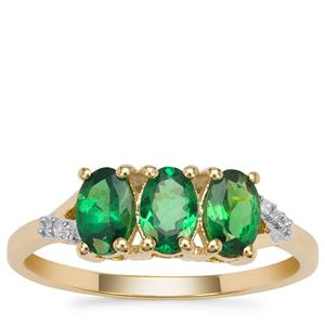 Tsavorite Garnet Ring with Diamond in 9K Gold 1.35cts
