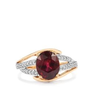 Malawi Garnet Ring with Diamond in 18K Gold 3.57cts
