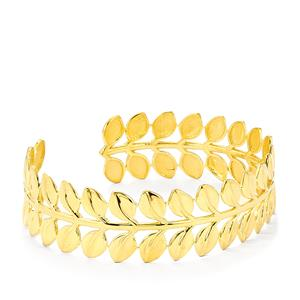 Textured Oval Cuff Bangle in Gold Plated Sterling Silver
