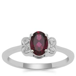 Tocantin Garnet Ring with White Zircon in Sterling Silver 1.03cts