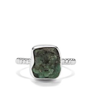 Zambian Emerald Ring in Sterling Silver 6.09cts