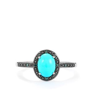 Sleeping Beauty Turquoise Ring with Blue Diamond in Platinum Plated Sterling Silver 1.20cts