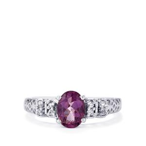 Kenyan Amethyst & White Topaz Sterling Silver Ring ATGW 1.25cts