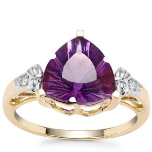 Lehrer Infinity Cut Moroccan Amethyst Ring with Diamond in 9K Gold 3.26cts