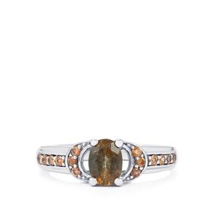 Gouveia Andalusite & Cognac Zircon Sterling Silver Ring ATGW 1.12cts