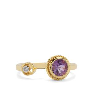 Moroccan Amethyst Ring with White Zircon in Gold Plated Sterling Silver 0.72ct