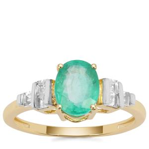 Colombian Emerald Ring with White Zircon in 9K Gold 1.67cts