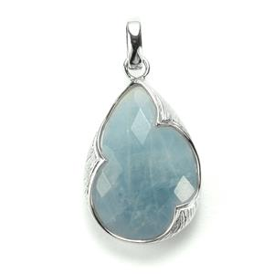 Blue Aquamarine Sarah Bennett Pendant  in Sterling Silver 21.31cts