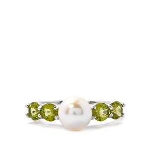 Freshwater Cultured Pearl Ring with Peridot in Sterling Silver