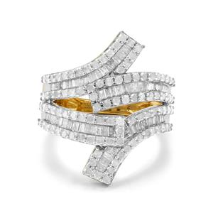 1.50ct Diamond Two Tone Gold Plated Sterling Silver Ring