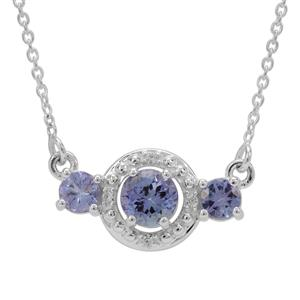 Tanzanite Necklace with White Zircon in Sterling Silver 1.15cts