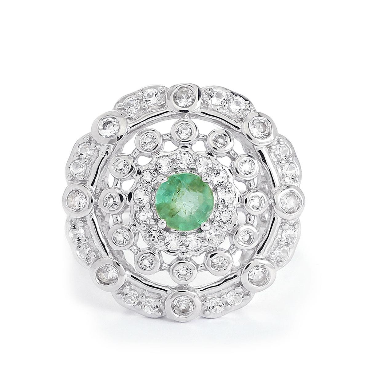 Zambian Emerald Ring With White Topaz In Sterling Silver 1