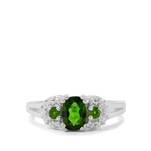 Chrome Diopside & White Zircon Sterling Silver Ring ATGW 1.14cts