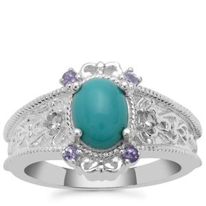 Sleeping Beauty Turquoise Ring with Tanzanite in Sterling Silver 1.37cts