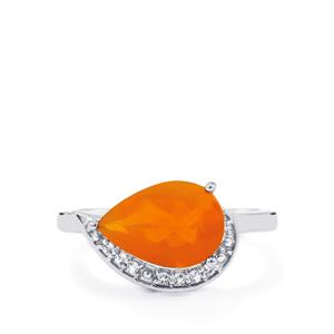 AAA Honey American Fire Opal Ring with White Topaz in Sterling Silver 2.10cts