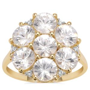 Singida Tanzanian Zircon Ring with White Zircon in 9K Gold 5.90cts