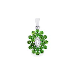 Chrome Diopside Pendant with White Topaz in Sterling Silver 2.91cts