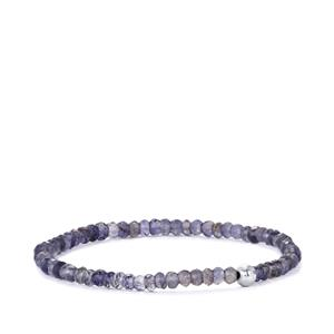Bengal Iolite Stretchable Graduated Bead Bracelet in with Silver Ball 23cts