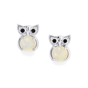 Rainbow Moonstone Earrings with Black Spinel in Sterling Silver 2.53cts