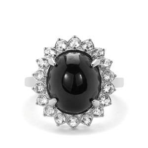 Star Garnet Ring with White Zircon in Sterling Silver 10.66cts