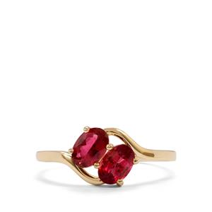 0.95ct Pink Tourmaline 10K Gold Ring