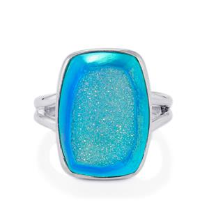 Azure Drusy Ring in Sterling Silver 11.13cts