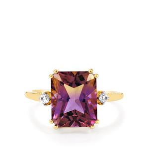Anahi Ametrine Ring with White Zircon in 9k Gold 4.34cts