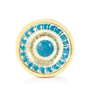 White Quartz & Neon Apatite 9K Gold Wheel of Light Ring ATGW 25.24cts