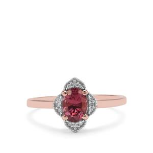 Malaya Garnet Ring with Diamond in 9K Rose Gold 0.97ct