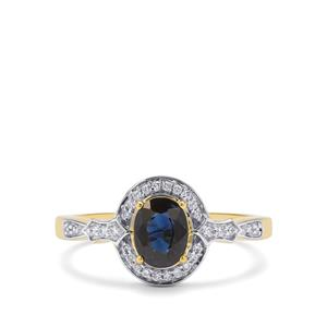 Nigerian Blue Sapphire Ring with Diamond in 18K Gold 1.15cts