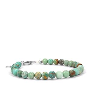 Tibetan Turquoise Graduated Bead Bracelet in Sterling Silver 30cts