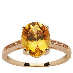 Canary Apatite Ring with White Zircon in 9K Gold 2.88cts