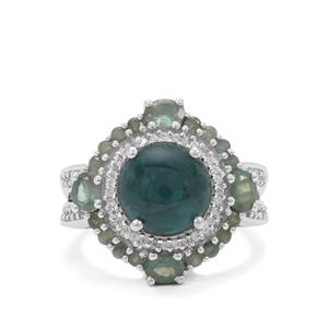 Grandidierite, Alexandrite & White Zircon Sterling Silver Ring ATGW 5.65cts