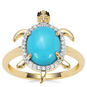 Sleeping Beauty Turquoise, Black Spinel Tortoise Design Ring with White Zircon in 9K Gold 2.32cts