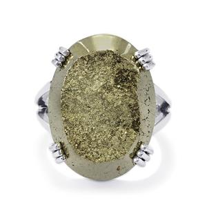 Drusy Pyrite Ring in Sterling Silver 34cts
