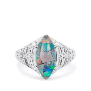 Mosaic Opal (7X15mm) Ring in Sterling Silver