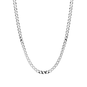 "20"" Sterling Silver Classico Faceted Flat Curb Chain 6.81g"