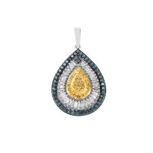 Yellow, Blue Diamond Pendant with White Diamond in Sterling Silver 0.76ct