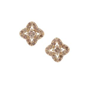 3/4ct Cape Champagne Diamond 9K Gold Earrings