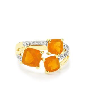 AA Orange American Fire Opal Ring with White Topaz in Gold Plated Sterling Silver 2.64cts