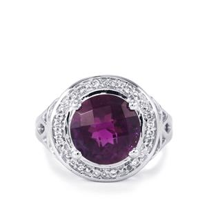 Zambian Amethyst & White Topaz Sterling Silver Ring ATGW 6.33cts