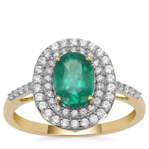 Kafubu Emerald Ring with White Zircon in 9K Gold 1.65cts
