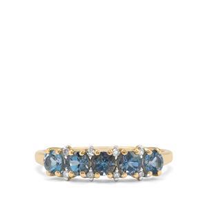 Nigerian Aquamarine & Diamond 9K Gold Ring 0.90ct