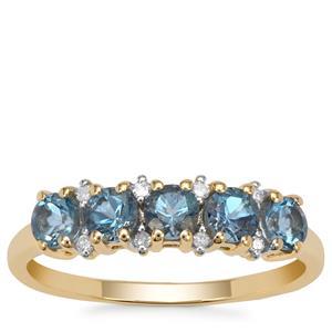 Nigerian Aquamarine Ring with Diamond in 9k Gold 0.90ct